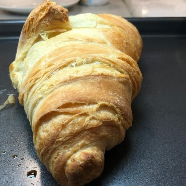 Baked croissant on a tray