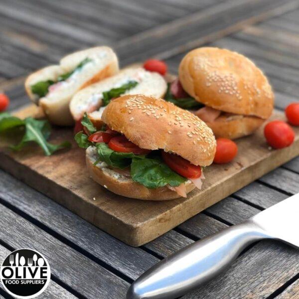 bagels on a cutting board