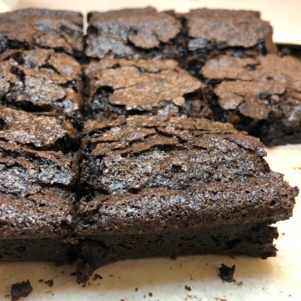 a batch of brownies on a baking tray
